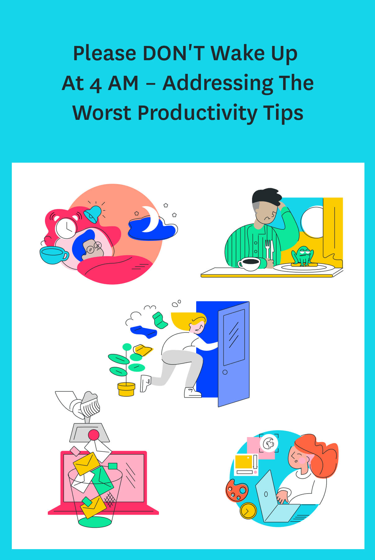 You've probably heard the advice that if you want to have a productive day, you need to wake up earlier. Well, we're here to tell you that's wrong & bust a few other productivity myths. #productivitytips