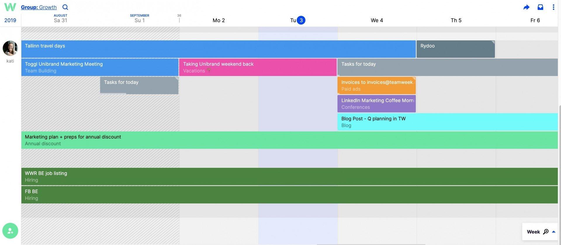 weekly to do list on Teamweek
