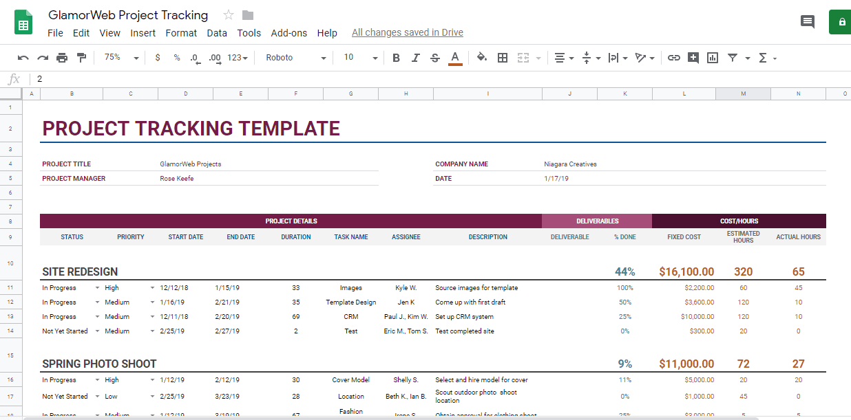 google sheets project tracking